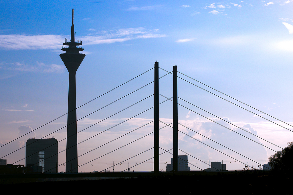 Silhouette of Dusseldorf tower and bridge